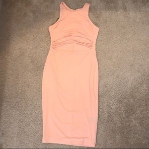 Peach body con dress